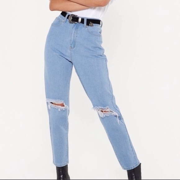 Nasty Gal Pants - High Waisted Distressed Mom Jeans